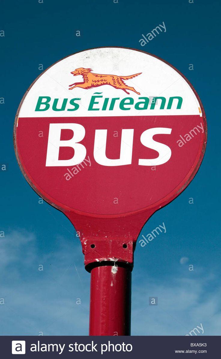 A Bus Eireann bus stop sign (and logo) in Cahir, Ireland (Eire