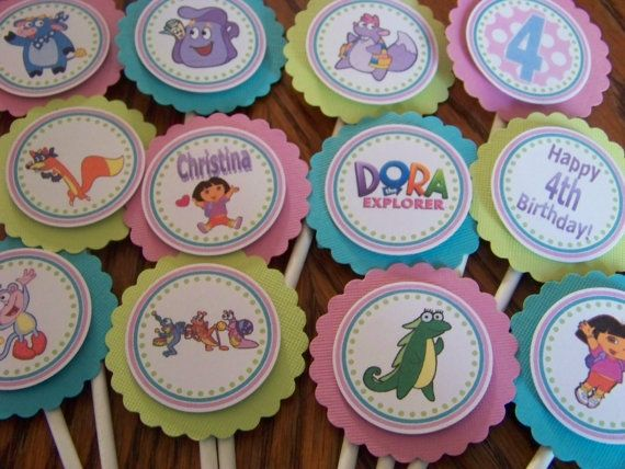 NEW Dora the Explorer Cupcake Toppers-Customized-Set of 12-For Regular Sized Cupcakes on Etsy, $10.00