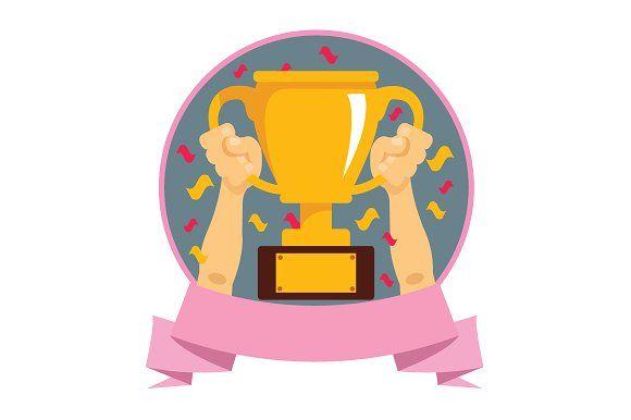 Hands Holding Winner Cup Cartoon Clip Art Graphic Illustration Art Logo