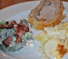 Indbagt svinemørbrad m. flødekartofler og broccoli salat
