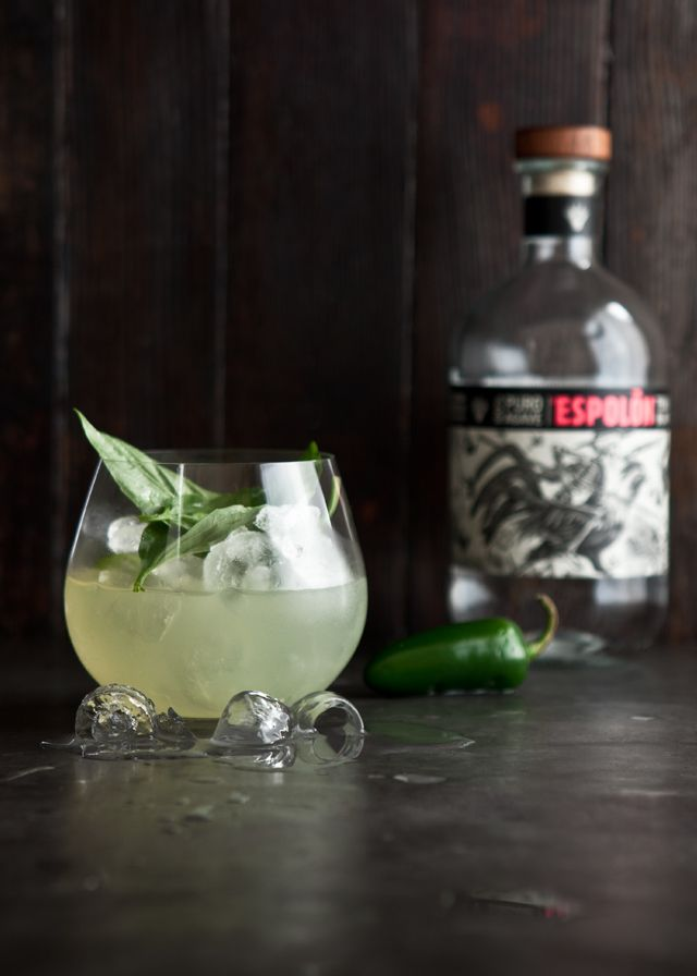 Basil Jalapeno Margaritas - Basil, Jalapeno Tequila (Recipe), Lime, Mint, Sugar, White Tequila.