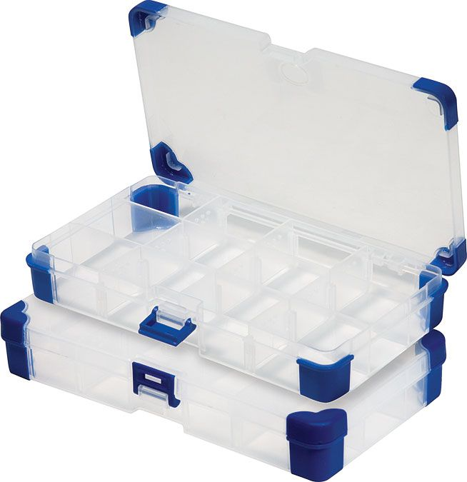 2 pc Small Plastic Storage Boxes - great for holding beads or jump rings - from Princess Auto