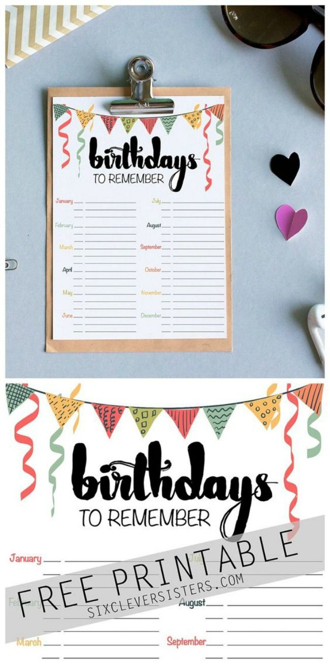 Birthday Reminder Free Printable Birthdaycalendar Freeprintable Birthdayreminder