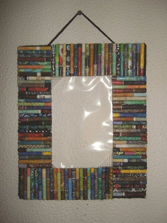 Rainbow paper upcycled photo frame colorful recycled paper for Handmade best out of waste