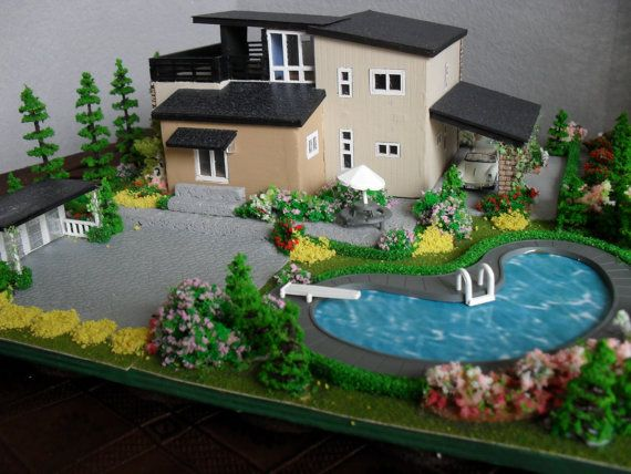 Modern miniature model house with property ho scale ho New model contemporary house