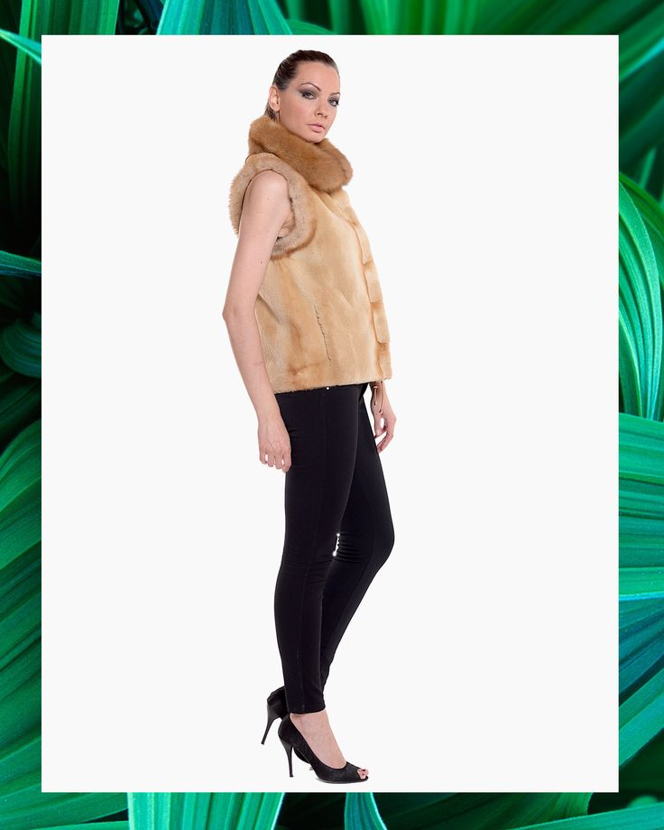 Go comfy chic with this brown mink fur vest and a Bob Marten fur collar.