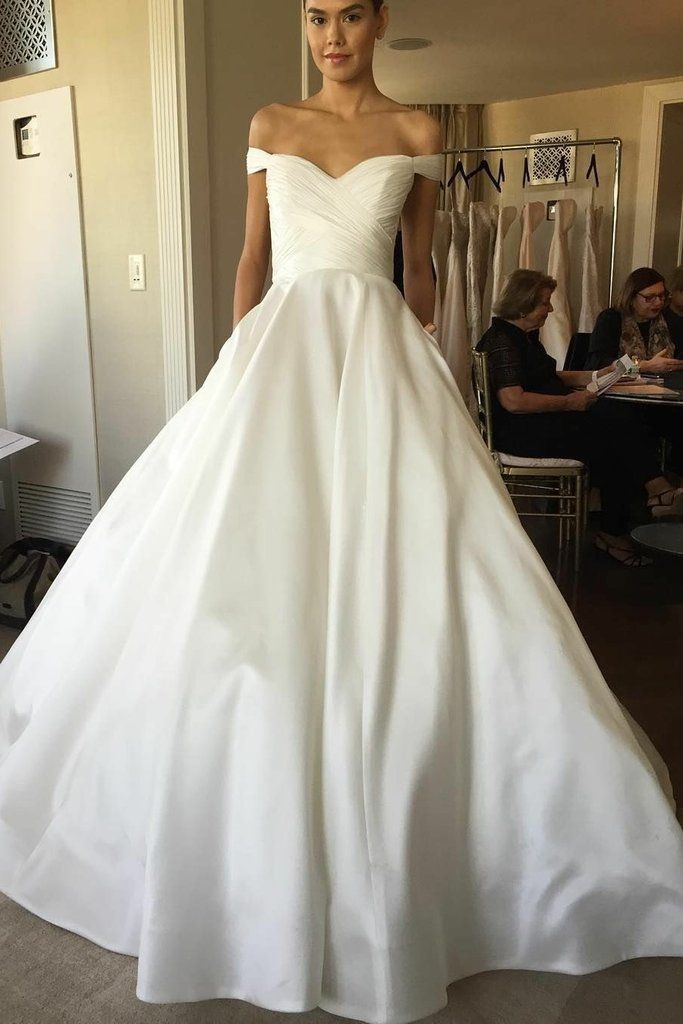 690a5035b508 Off-the-shoulder Sweetheart Satin Simple Bridal Gown 2018 in 2019 ...