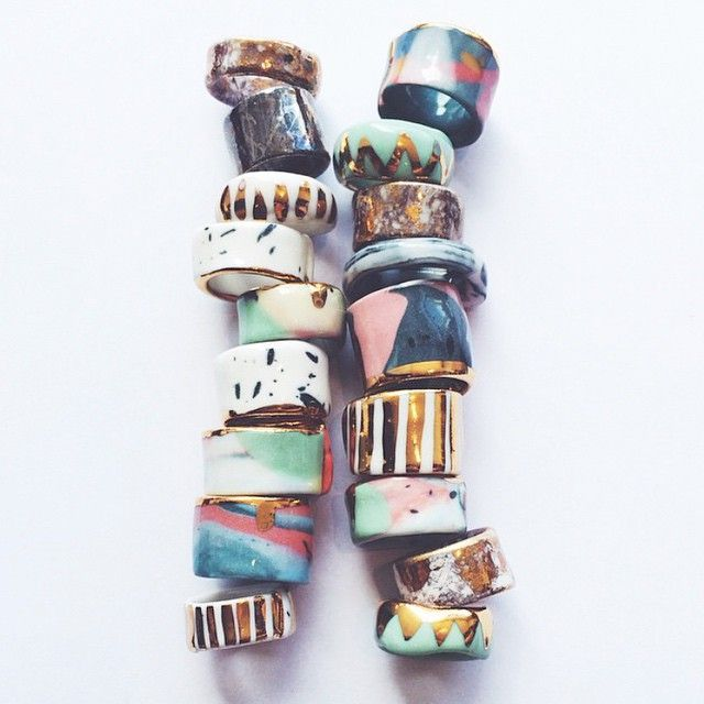 Stunning rings by Australian Ceramicist, Ruby Pilven #accessories #rings #ceramics #handmade