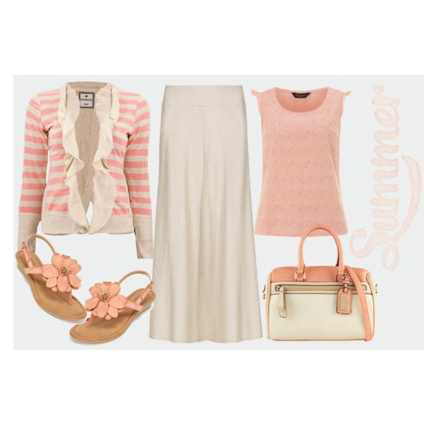 """""""inexpensive maxi skirt outfit in coral and ivory"""" by dixiegirl-dixie on Polyvore"""