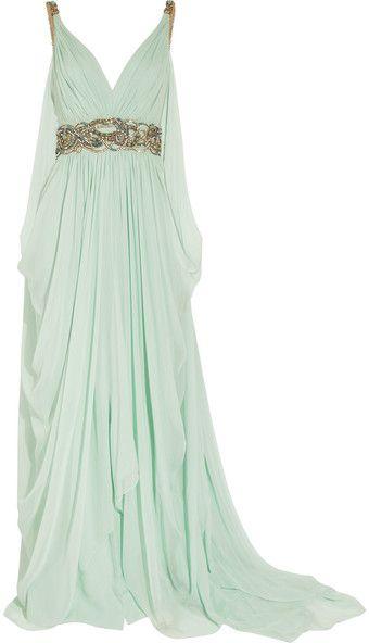 "Crystal-embellished silk-chiffon gown  @Catie Osborn In an ideal world, for ""Antigone""?"