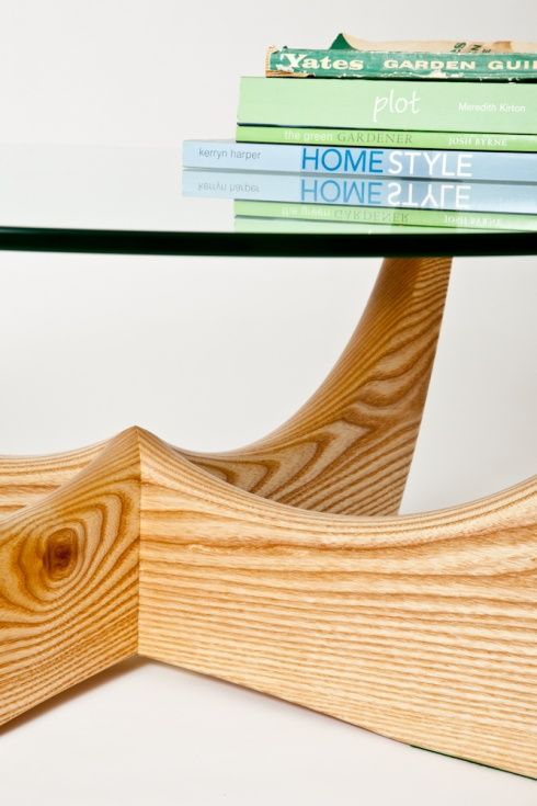Coffee table with glass top in American ash
