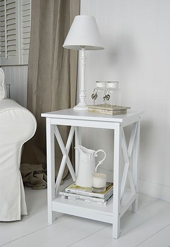 Henley white lamp table for a white living room.Nordic style furniture for the home