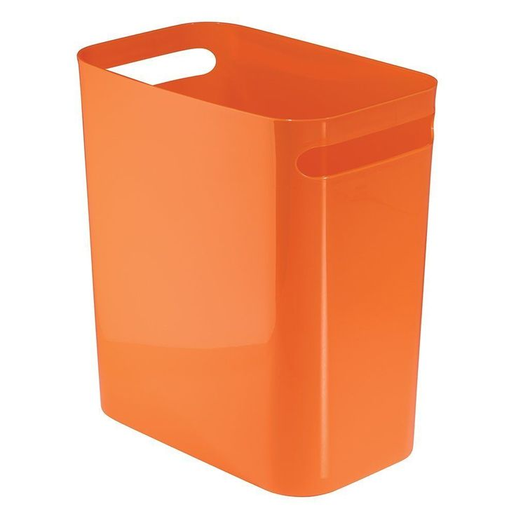 12 Inch ORANGE Bathroom Office Kitchen Wastebasket Trash Can Free Shipping
