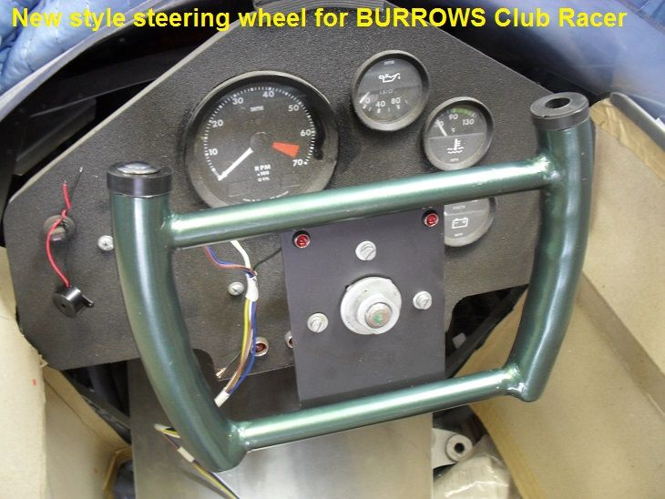 New for 2016, Jet Fighter style steering wheel for the Burrows Club Racer V12 5000, with oil/water fail lights and piezo siren to kill engine. (Jagmania)