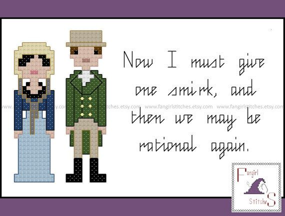 Now I must give one smirk, and then we may be rational again. This cross stitch pattern features the main characters from Jane Austens