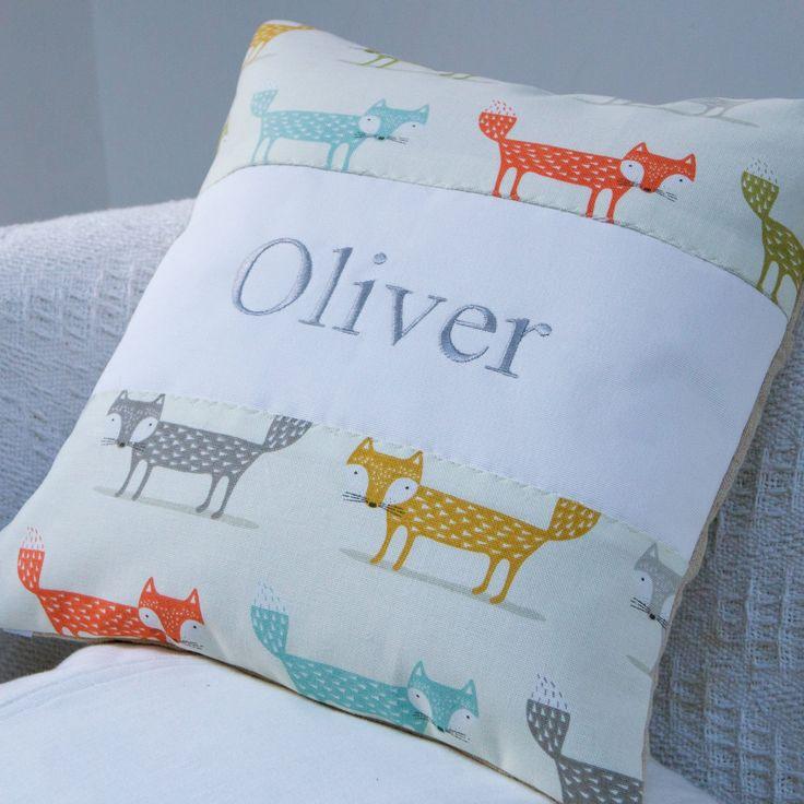 Friendly Foxes Name Cushion