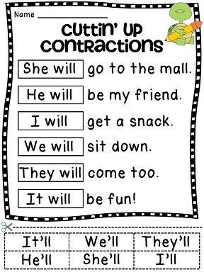 Contractions worksheets that focus on one particular contraction type at a time AND mixed practice as well! Such fun teaching contractions activities - having to cut and paste it on top of the original words really helps solidify it for kids