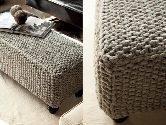 Fabulous ottoman cover knit in seed stitch and using 3 strands of Tahki  Yarns Montana held together. Photo by Rose Callahan. From the new Winter  Vogue ... - 81 Best Crochet Ottoman. Love These!!! Images On Pinterest