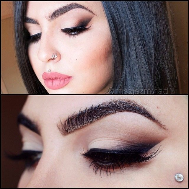 Beautiful. Tip: use tape to create the clean line. Star from the outer corner of your eye and bring it toward the end of your brow. If you use tape do it before foundation. And BLEND. PLEASE.
