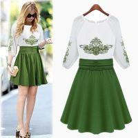 Chinese kenmerken borduurwerk jurk elegante groene chiffon jurk gratis verzending