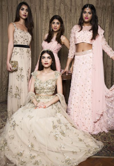 bridesmaids outfits, gold lehenga, lace lehenga, delicate lehenga, girly lehenga, fairytale outfits, pastel lehengas, light pink lehenga, gold gown , sister of the bride, friends of the bride, cocktail outfits, engagement outfits, cocktail outfits