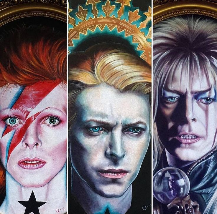 Bowie as Ziggy Stardust, the Thin White Duke, and Jareth the Goblin King. Three of his pest known adopted alter egos.