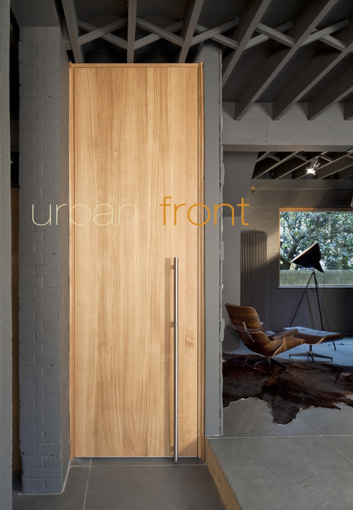 Raw V - a modern vertical grain natural hardwood finish with no grooves. Able to go to 3m high internal door, with the possibility of going full height floor to ceiling and make a real statement!  See www.urbanfront.co.uk