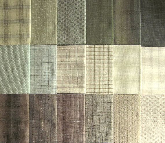 Japanese Taupe fabrics  18 green and brown fat quarters  Fabric  Japanese fabric Fabric