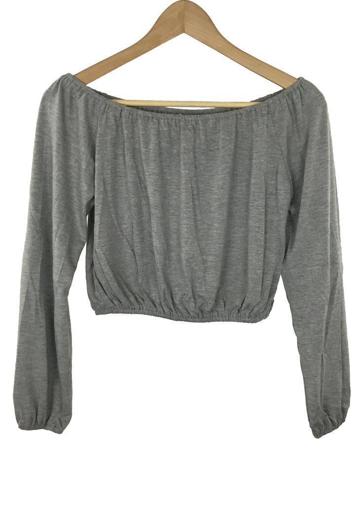 destiny off-the shoulder crop top (grey)