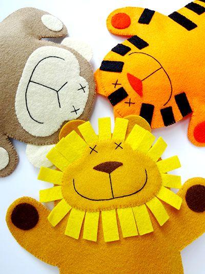 Lion, Monkey & Tiger Felt Hand Puppets