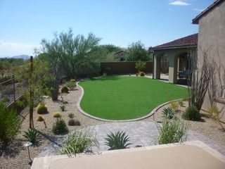 Low maintenance landscape with artificial turf