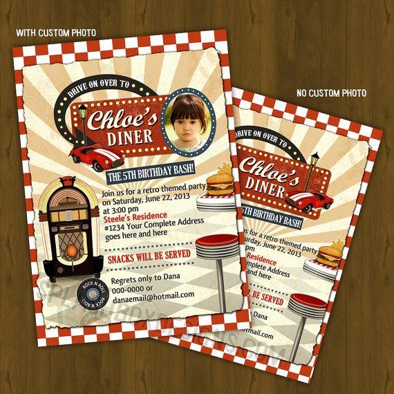 Vintage Retro Diner Invitation - 1950's Diner Fastfood Birthday, Baby Shower or Bridal Shower Invitation on Etsy, $10.00