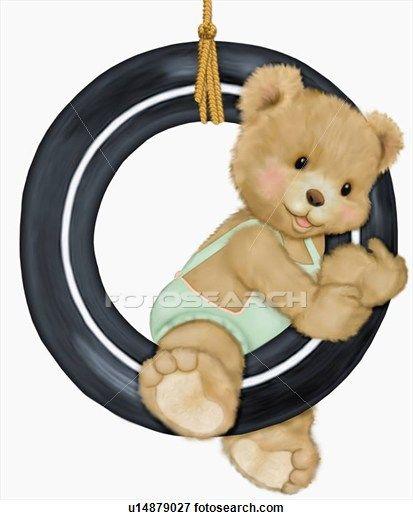 Teddy bear in tire swing