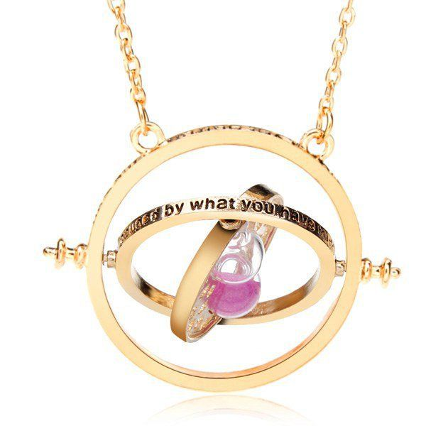 LOOKOUT Harry Potter: Hermione Rotating Silver Time Turner Necklace with Hourglass lakfcnyR6