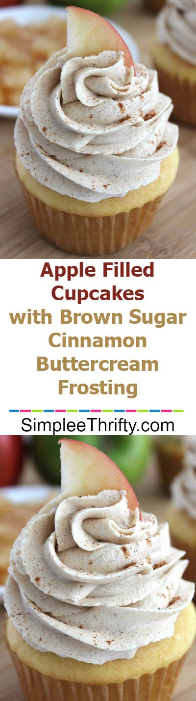 Apple Filled Cupcakes with Brown Sugar Cinnamon Buttercream Frosting: Light & fluffy cupcakes with a surprise in the middle. (Apple Recipes Bread)