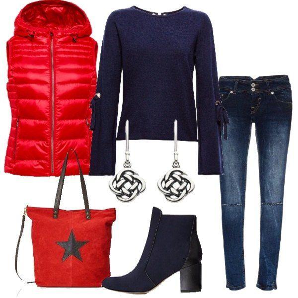 new concept fc9a1 29756 Jeans slim fit con strappi, felpa blu, scollo tondo, maniche ...