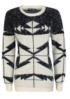 Cream Aztec Eyelash Tunic Jumper   #2014 #fashion http://www.selectfashion.co.uk/clothing/s039-1503-03_cream.html