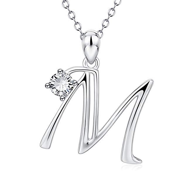 022c81701b249c YFN Initial Necklace Sterling Silver Letter M Alphabet Pendant Necklace  Jewelry for Women Teen Girls