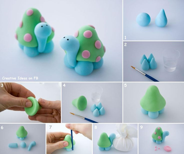 Polymer clay turtle idea - simple, cute and colorful