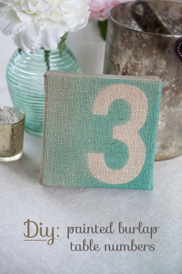 Simple DIY // painted burlap table numbers for your rustic wedding!