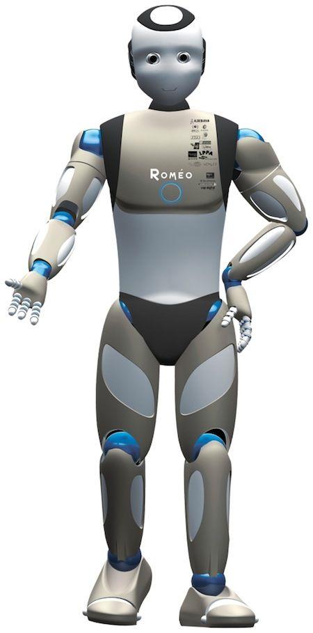 """* ROMEO Projet de """"vrai"""" robot humanoïde à échelle humaine.   1,4 m de haut et 40 kg  Ce robot personnel est destiné à aider les personnes âgées et handicapées dans leurs tâches quotidiennes tout comme le maître d'hôtel robot idéal représenté dans les films de science-fiction. L'intention est de rendre la communication avec le robot facile et naturelle au moyen de la parole et des gestes."""