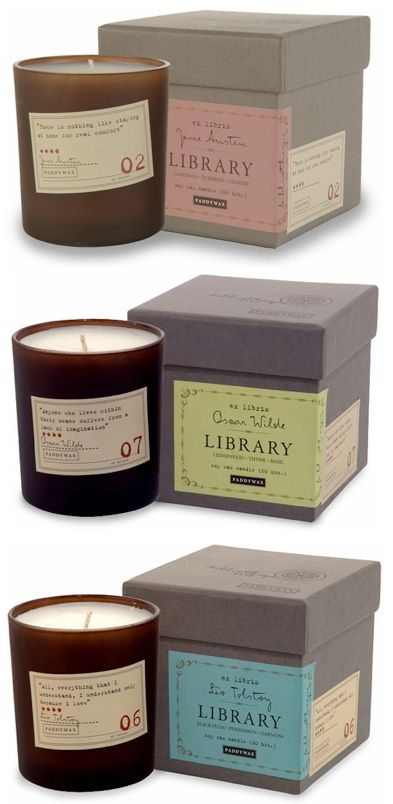 Library candles: The scent is matched to each author. Jane Austin is a blend of florals, Poe's candle combine cardamon with absinthe and sandal wood, and Thoreau is woodsy scents like cedar and juniper. They even have a Dickens candle that sounds perfect for the holidays!.