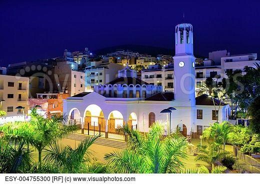 Los Cristianos night church in Tenerife Arona Adeje coast Canary Islands