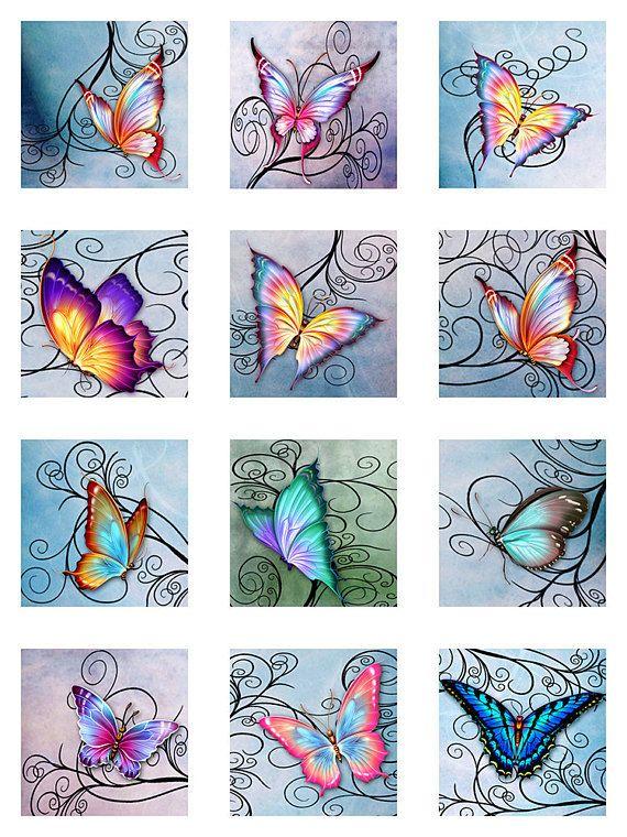 Schmetterlinge wirbelt Aquarell Pastellpapier sofortigen Download für Glas Harz Scrabble Fliesen Anhänger digitale Collage Blatt Platz Jpeg (S8)