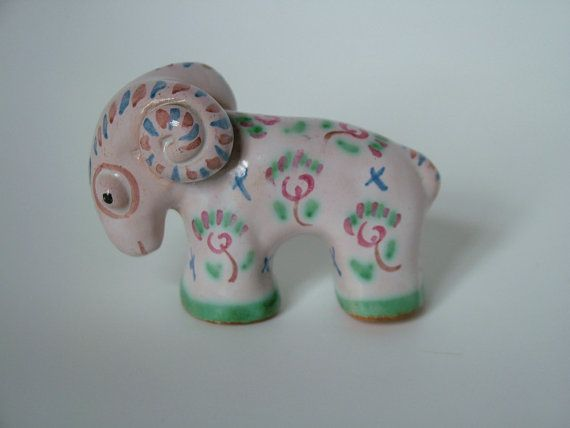 Rare 50's 60's L Hjorth Denmark Pottery Stylised Ram Sheep Figure Hand Painted Flower Design Kitsch Mid century modern Scandinavian Ceramics...