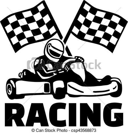 Goal Flags And Kart Racing Vector