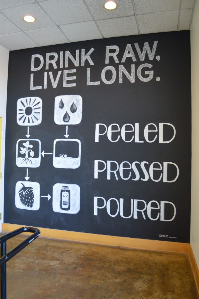 Chalkboard Wall. Peeled Juice Bar - Chicago.