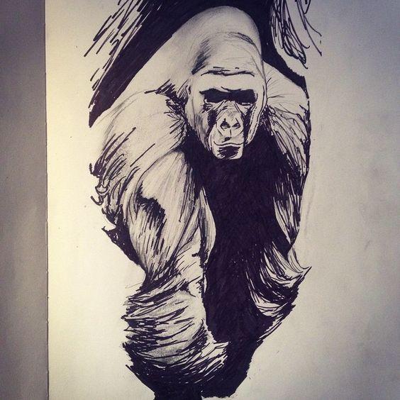 ... gorilla illustration in tattoo ver mais 4 tomek kołodziej tattoo