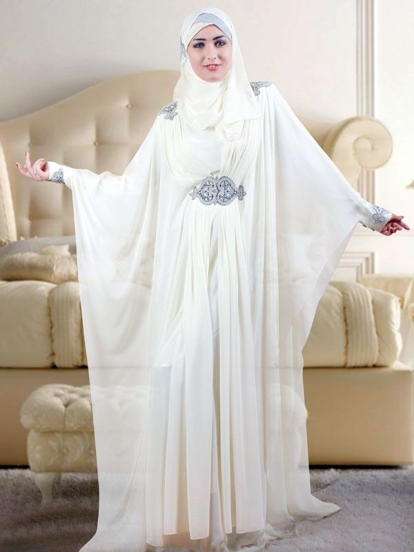 White muslim wedding kaftan kaftan islam abaya nikkah for Wedding dress arabic style