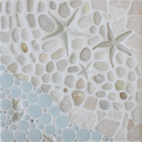 AS the Tide Goes Out tile, glass, shell mosaic